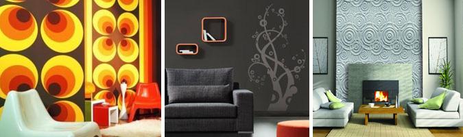 Stickers, rivestimenti o stampe per decorare le pareti del soggiorno
