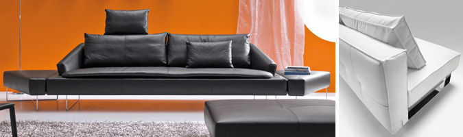 Il divano in pelle per il soggiorno